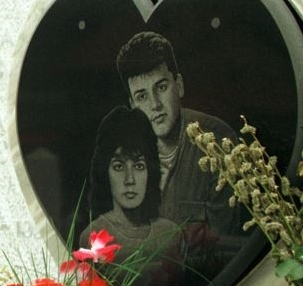 The gravestone for Admira Ismic and Bosko Brkic at Sarajevo's Lion Cemetery..jpg